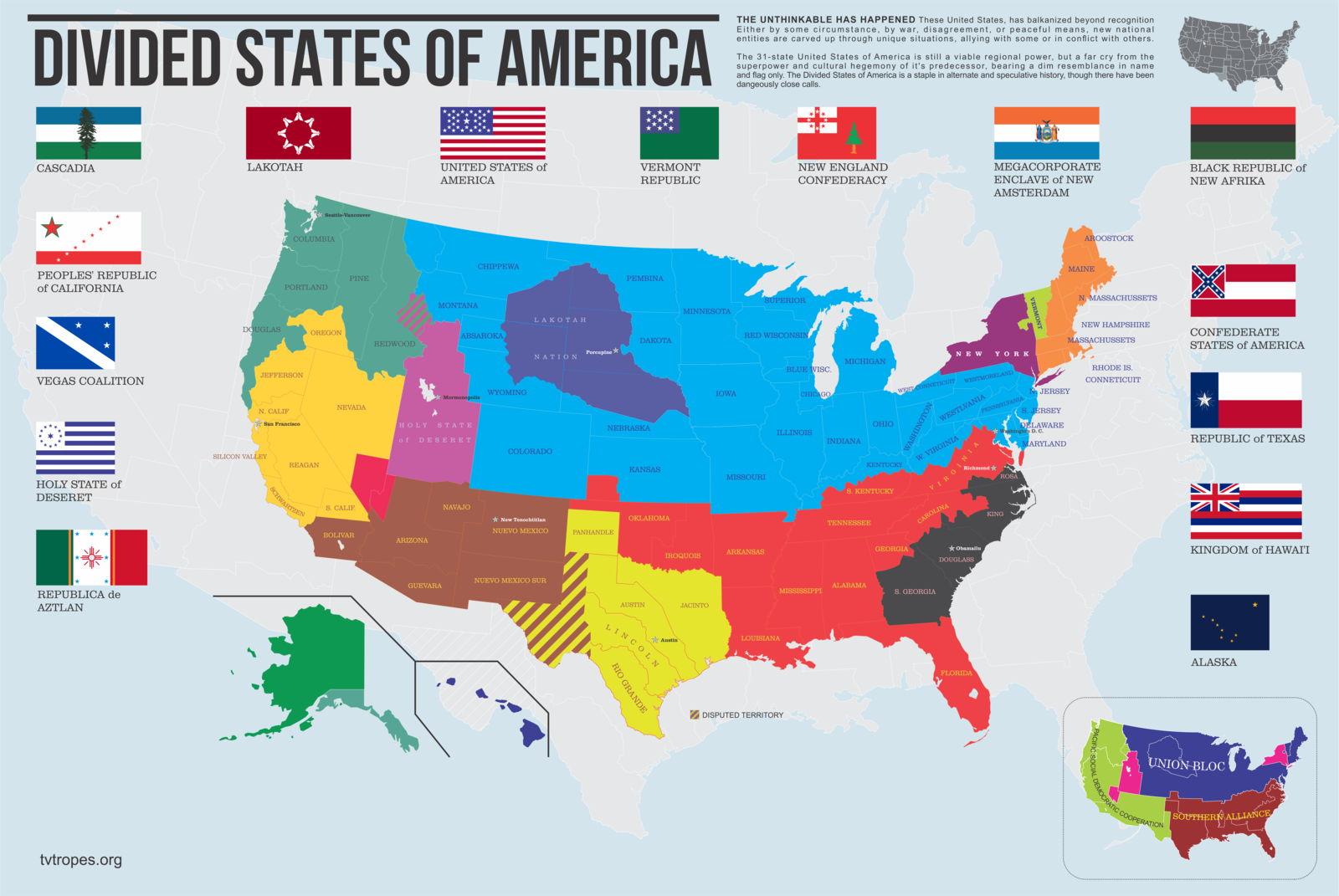Divided States Of America Accdg To Tvtropes By Thadrummerdeviantart - Alternate-us-map
