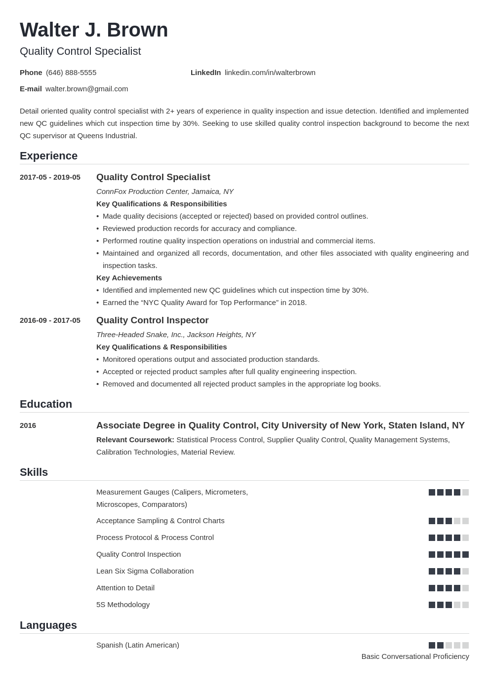 Quality Control Resume Example Template Nanica Resume Objective Resume Examples Job Resume Examples