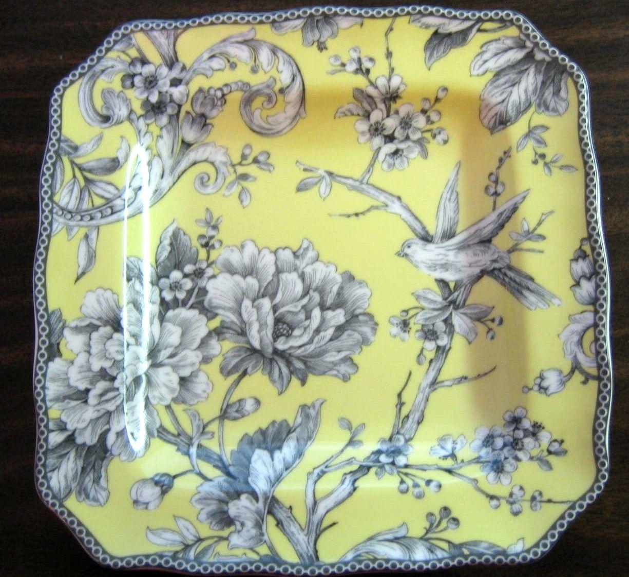Mini Yellow Rose Bird Branch Blossom Square Plate S   Bird branch ...
