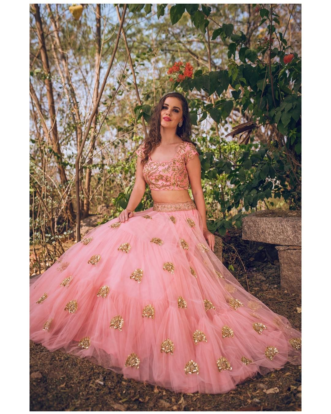 Beautiful blush pink color lehenga and blouse with hand embroidery ...