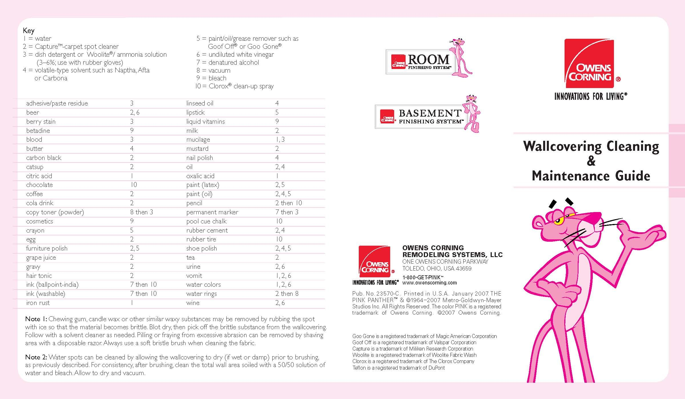Owens Corning Basement Finishing System Wallcovering Cleaning and Maintenance Guide PAGE 1