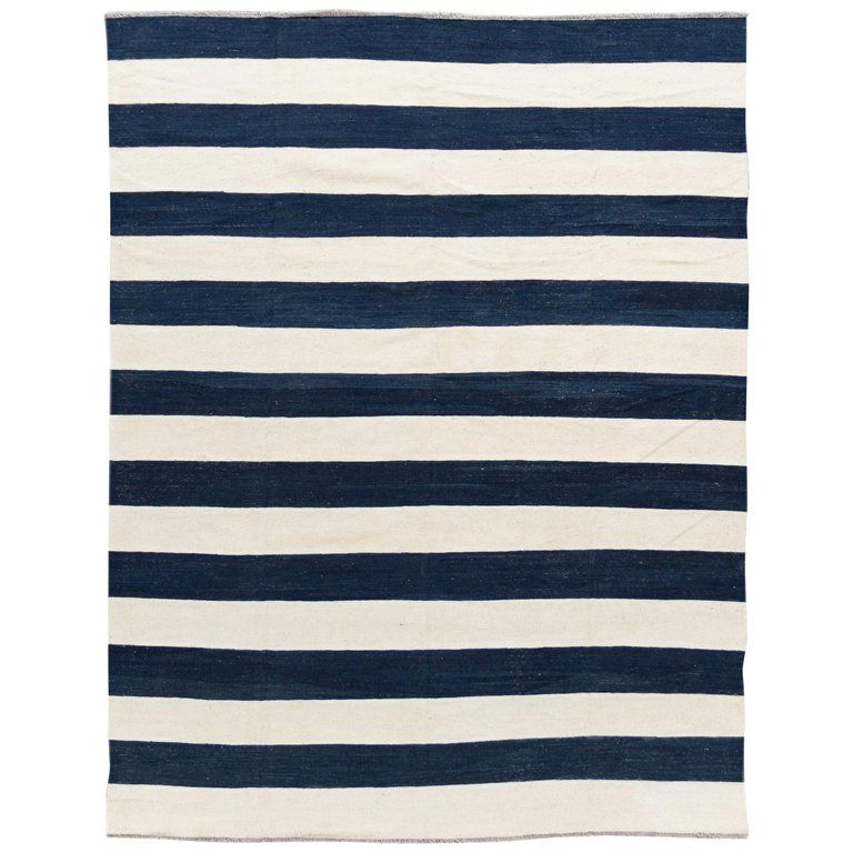 Contemporary Blue White Striped Kilim Flatweave Wool Rug Rugs