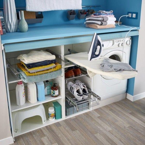 les rangements et accessoires astucieux pour une petite buanderie petite buanderie repasser. Black Bedroom Furniture Sets. Home Design Ideas