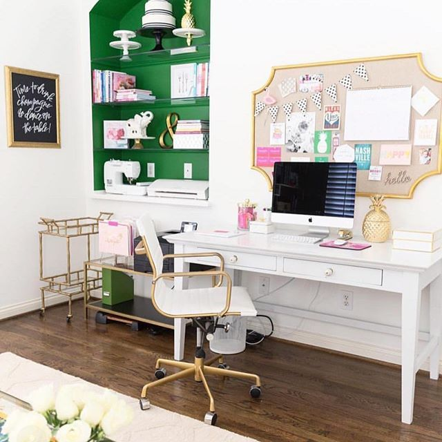 This office is #goals on every level! Could you die at that office chair?! Good news! Our gal Rach at @shoprachelgeorge is offering 10% off of your entire purchase of home and office decor to our readers! Be sure to follow @shoprachelgeorge and use code STAYCLASSY for your discount! | Amazing office by @pizzazzerie!