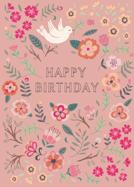 Pimlada Phuapradit - Bird And Flowers_birthday Card