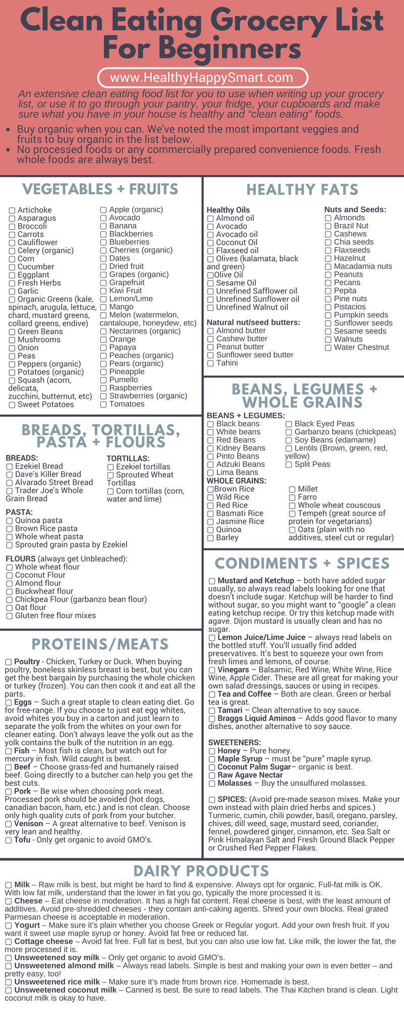 Clean Eating Grocery List PDF (print it!) | Clean Eating ...