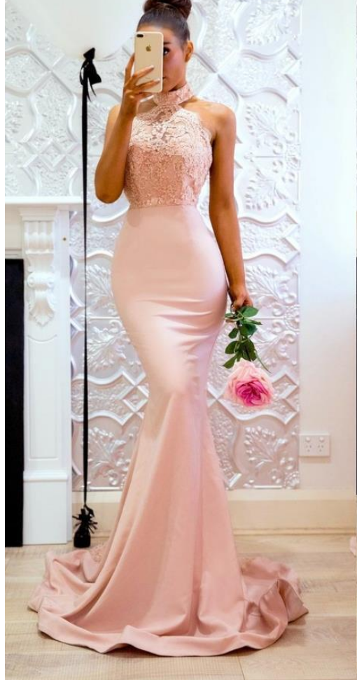 Pink Long High Neck Mermaid Lace Evening Dresses | 2018 Fashionable ...