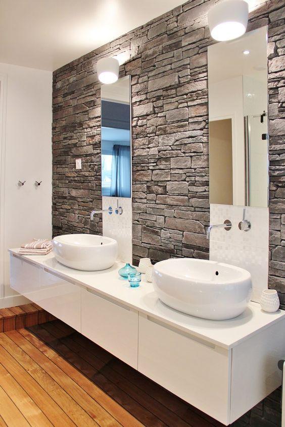 Des pierres dans la salle de bain! 20 idées Inspirez-vous! - fototapete für badezimmer