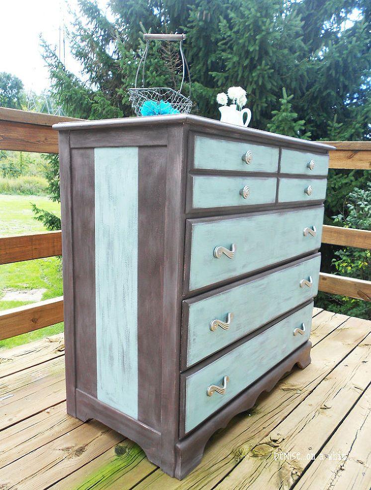 Blue And Brown Dresser Makeover Dresser Makeover Furniture Makeover Diy Dresser Remodel
