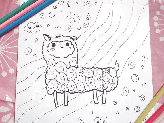Kawaii Alpaca Llama Adult Kids Coloring Page Fantasy