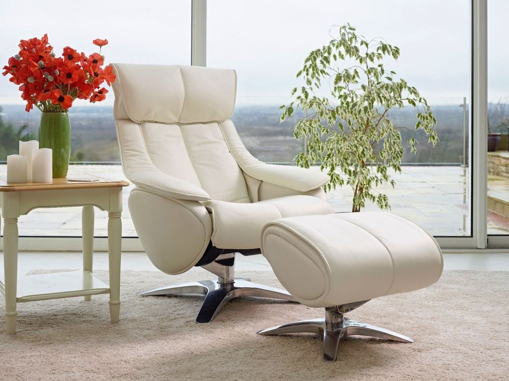 Details about Leather Swivel Recliner Chair & Footstool in