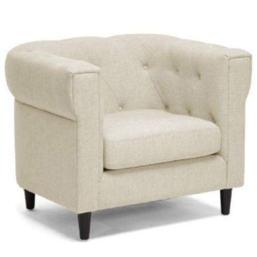 Wholesale Interiors Cortland Beige Linen Modern Chesterfield Chair