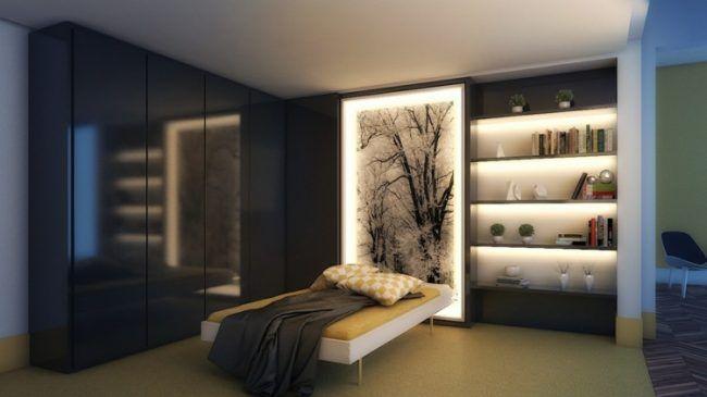 Beleuchtung Im Schlafzimmer Wandbild Idee Regal Indirekt Hochglanz  Kleiderschrank
