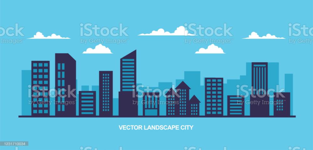 Vector Illustration Simple Minimal Geometric Design With City City Landscape Vector Illustration Vector