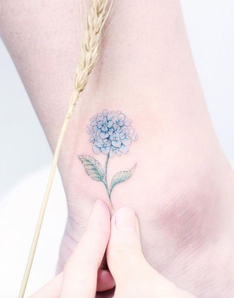 Hydrangea Tattoo By Mini Lau Girly Tattoos Hydrangea Tattoo Cute Ankle Tattoos
