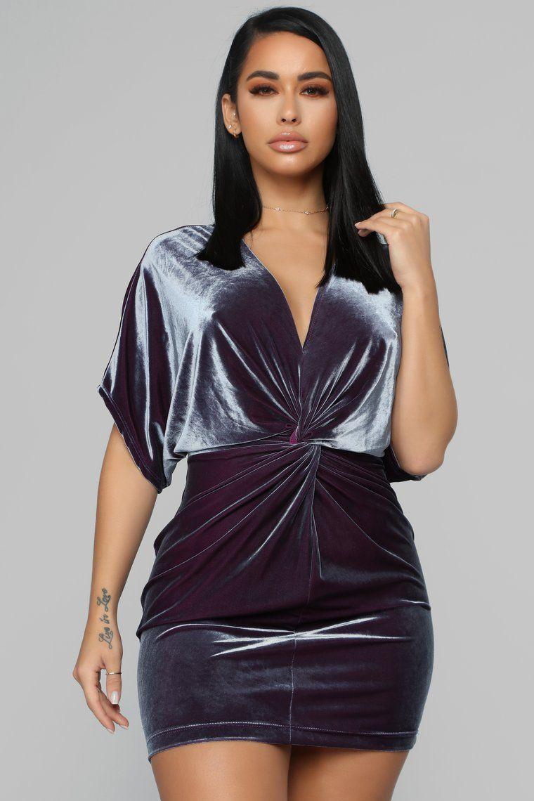 Take Me To Dinner Velvet Dress Charcoal Fashion