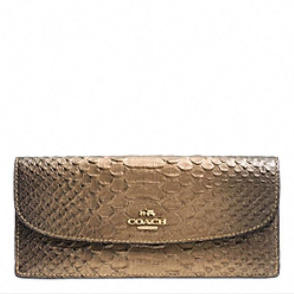 """NWT Coach Snakeskin Embossed Leather Wallet Coach Snakeskin Embossed Leather Continental Wallet / MSRP $175.00 + tax / 8 card slots / 2 billfold areas / full back zippered coin area / measures ~8.0"""" x 4.0"""" Coach Bags Wallets"""