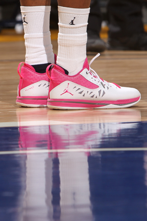 1e7fa8c8b60a Marquette men s basketball player Vander Blue sporting new pink shoes for  Breast Cancer awareness.