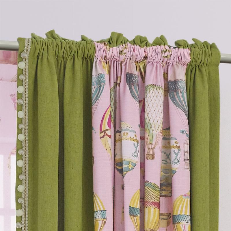 Printing Children Window Curtains Pink Thick Girls Bedroom Curtain Fabrics Green Boys Drapes Kids Room Balloon