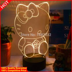 Online Shop Free Shipping Hello kitty 3D Table Light Lamp abajur crystal table lamp abajur mesa children's room Lamp Creative Gift|Aliexpress Mobile