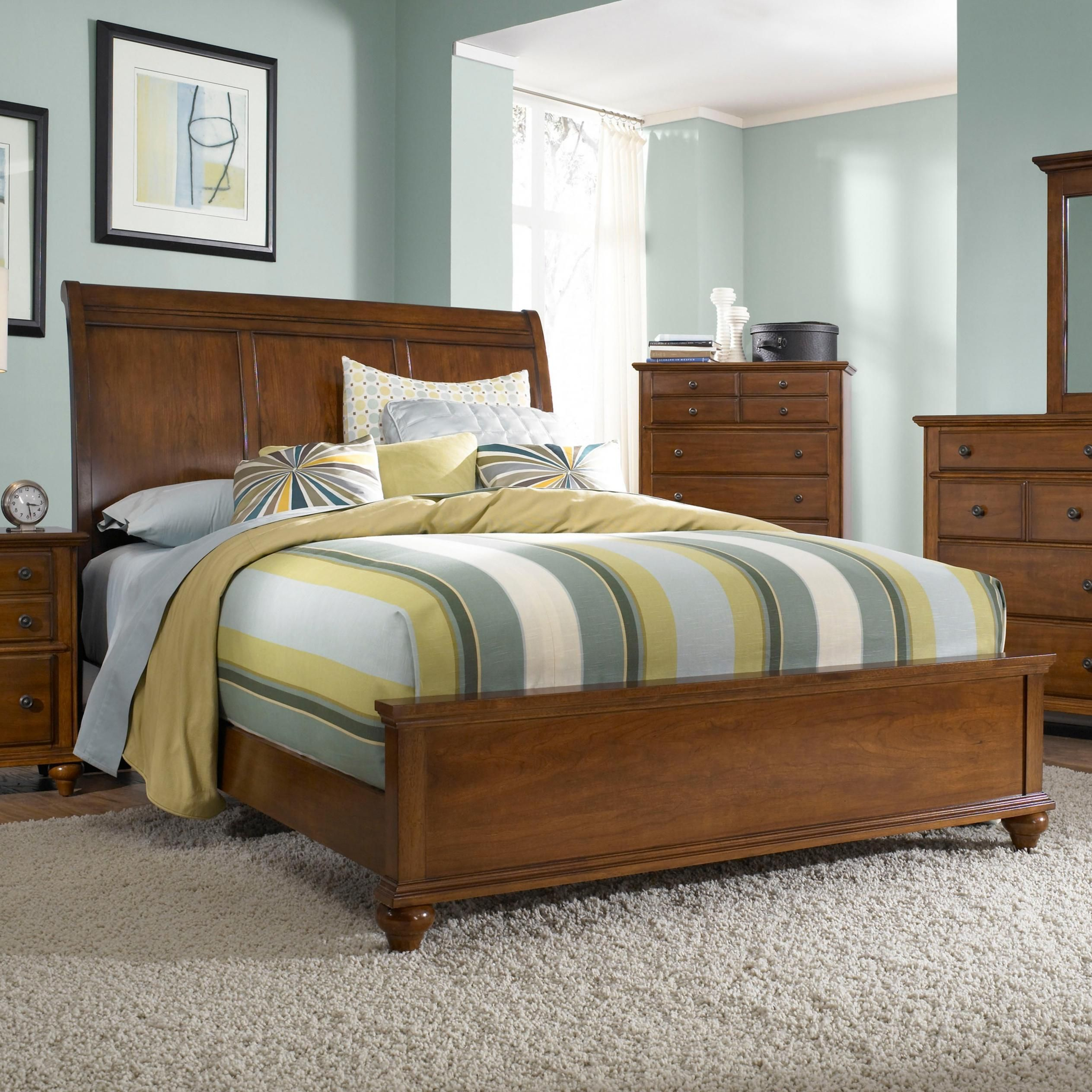 Hayden Place California King Bed with Sleigh Headboard and