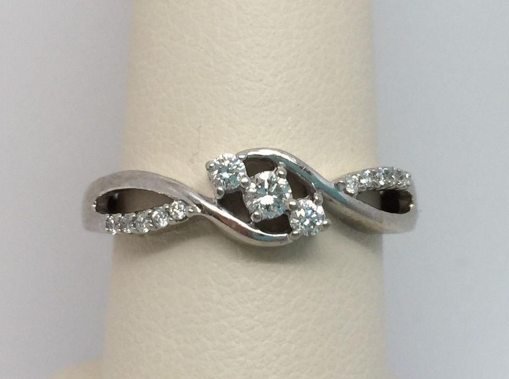 10k White Gold Ladies Diamond Infinity Ring 1 4 Ct Size 7 3 Stone Infinity Diamond Ring White Gold Infinity Ring