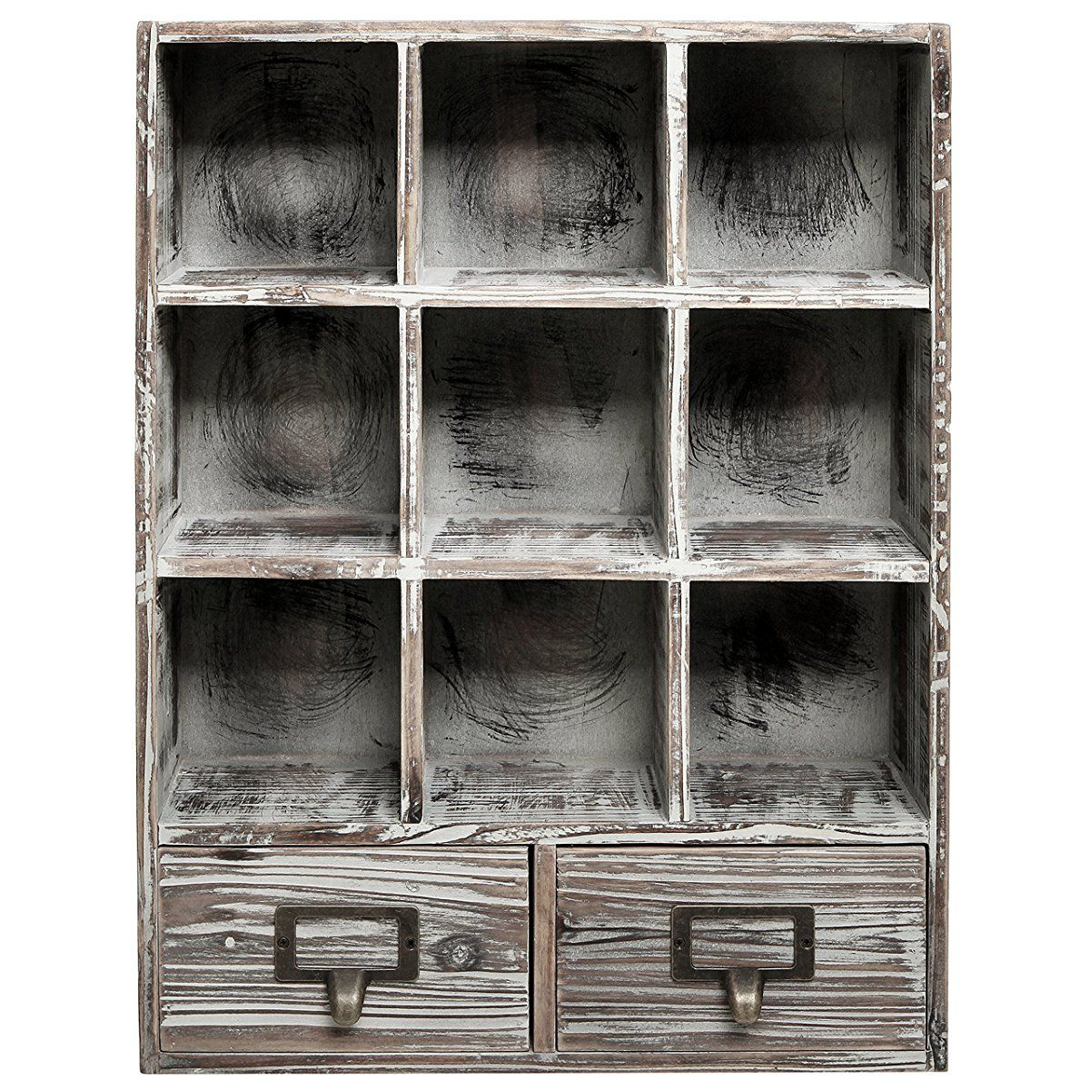 Rustic Dark Brown Wood Shadow Box 13x17 Inch Wall Mounted Cubby Storage With 2 Drawers Label Holders Wood Shadow Box Rustic Wall Shelves Cubby Storage