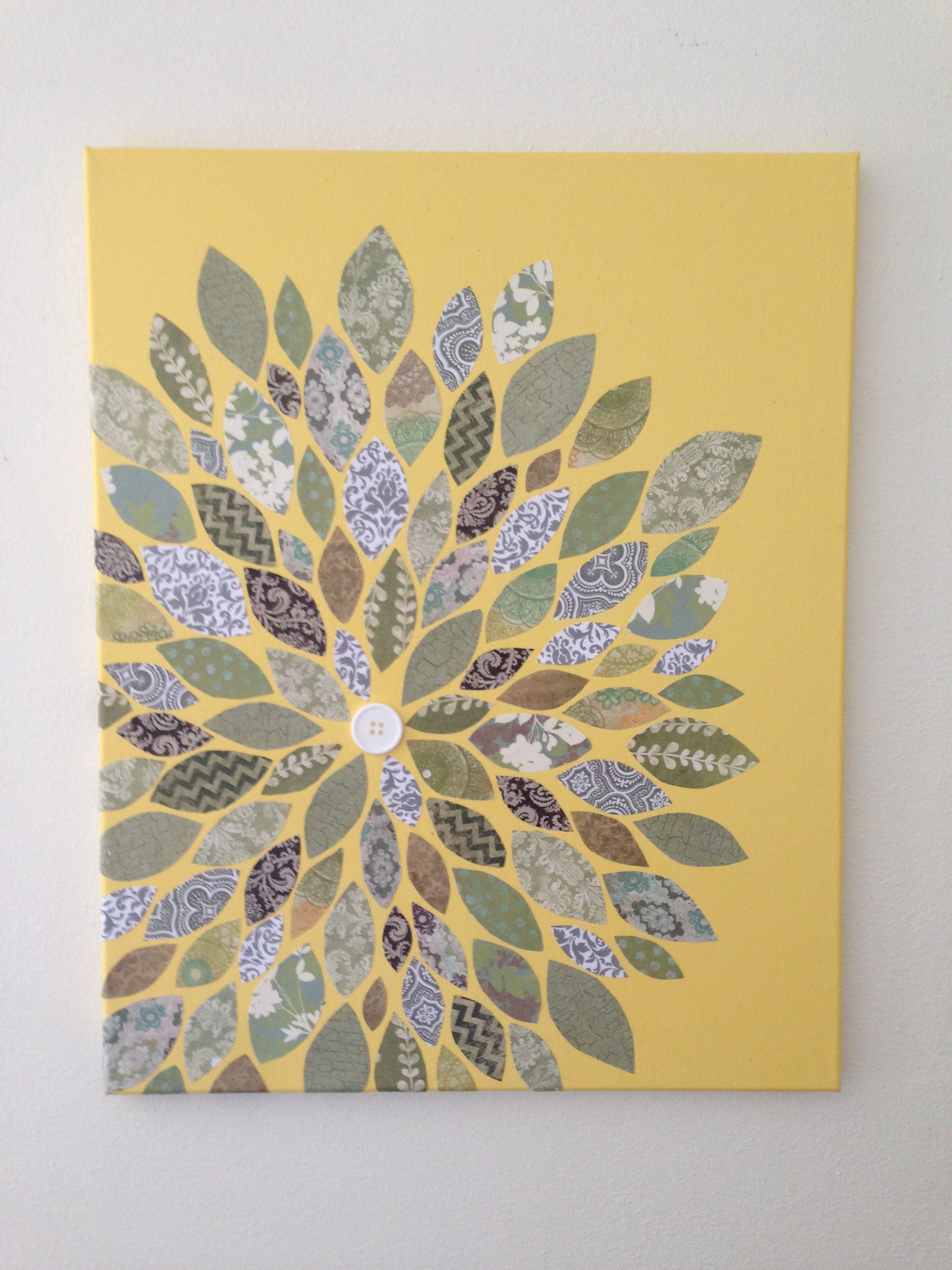 Canvas scrapbook flower art. Painted the canvas, cut out various ...