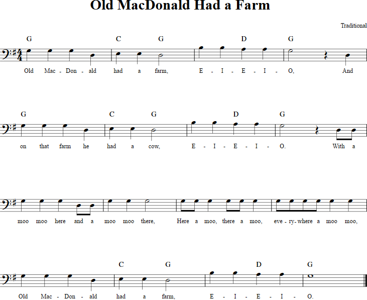 Old Macdonald Had A Farm Cello Sheet Music Httpcellosheetmusic