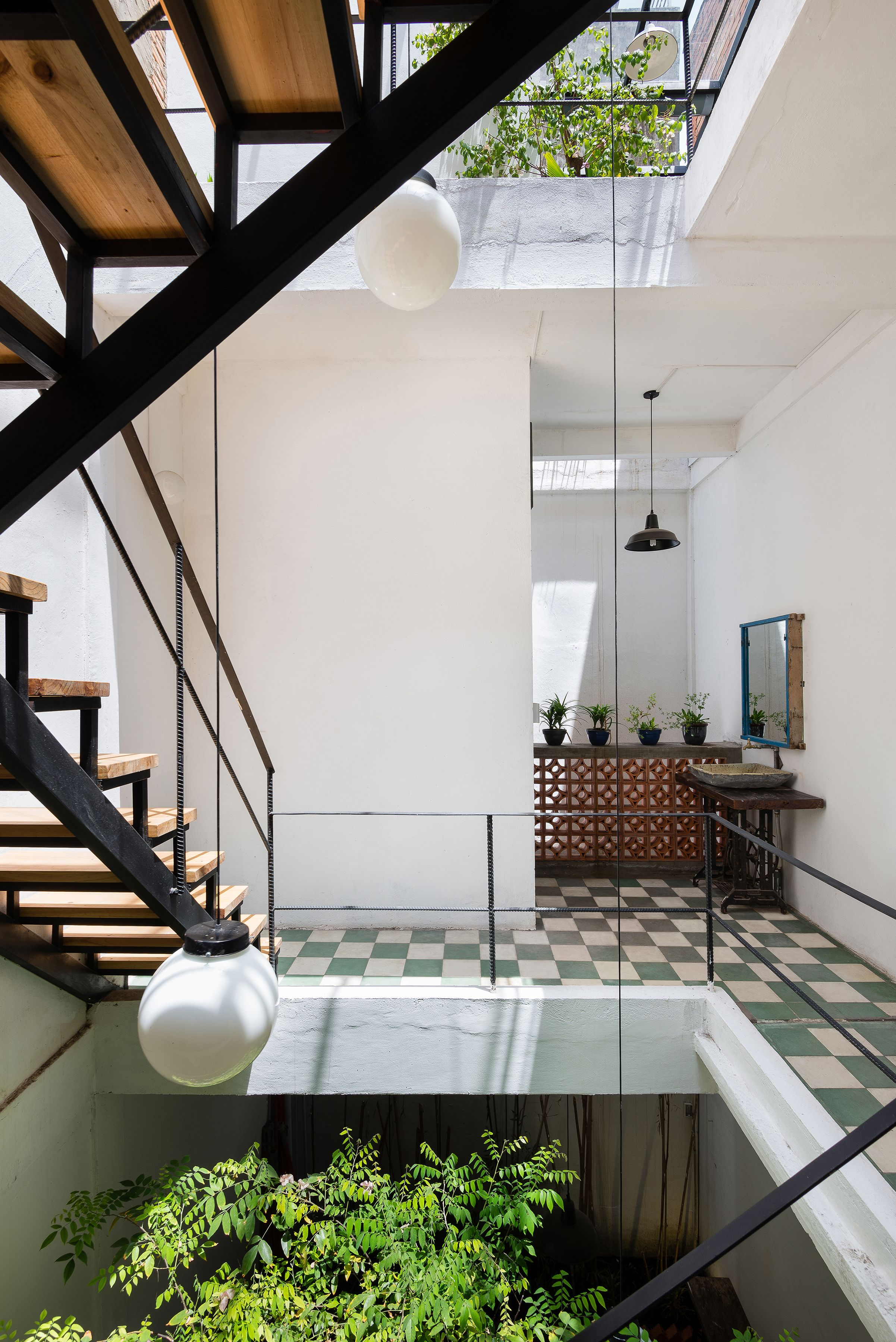 Stairs with skylight to bring light to the center of the house   424 ...