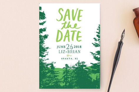"""Mountain View"" - Rustic, Destination Save The Date Postcards in Pine Green by Ariel Rutland."