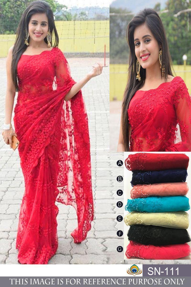 80aa254dc2 Buy Pink Color Nylon Mono Net Saree   Zinnga #buysareesonline #sarees #sari  #
