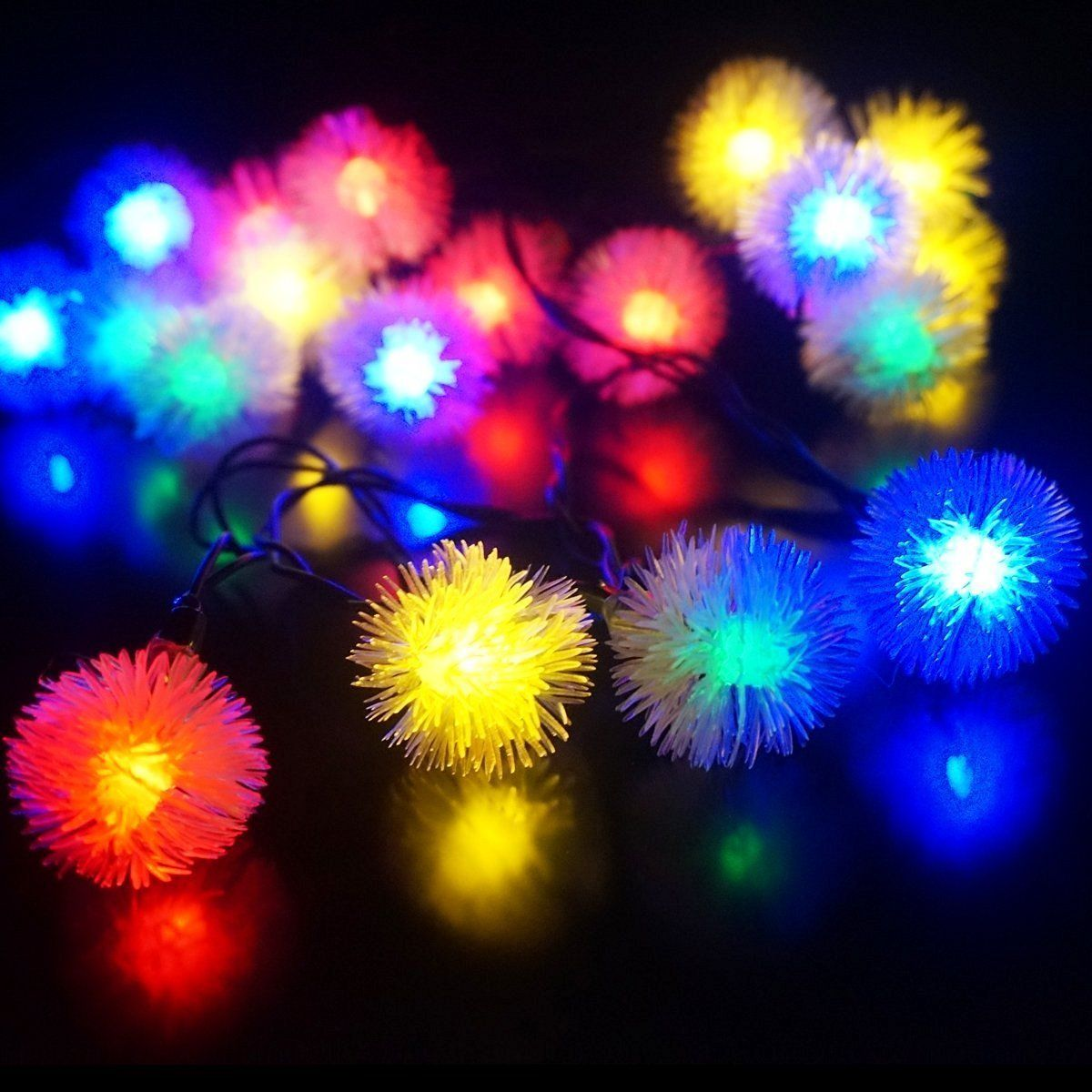 Fashionlite solar lights 50 leds chuzzle ball solar powered string fashionlite solar lights 50 leds chuzzle ball solar powered string lights outdoor christmas lights garden yard mozeypictures Images