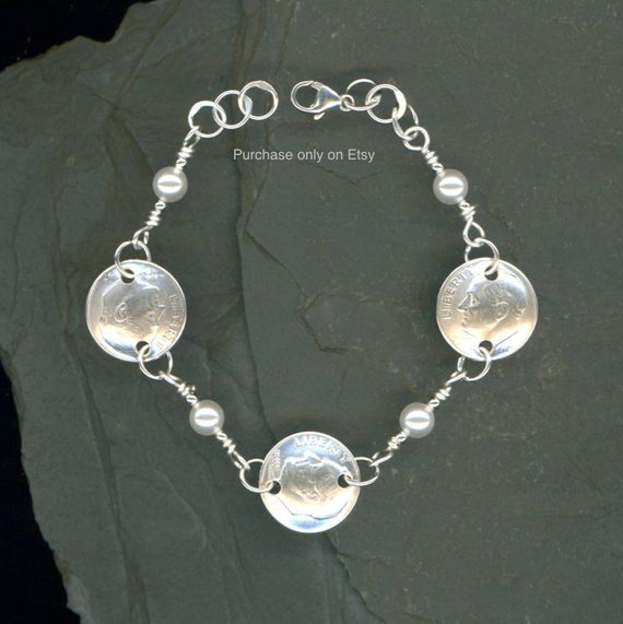 70th Birthday Gift 1948 Dime Pearl Bracelet Jewelry For Women Birt