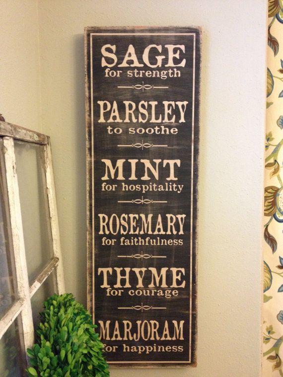 Kitchen Sign Herb List 12x36 Custom Handcrafted Wood Etsy Kitchen Signs Kitchen Art Painted Wood Signs