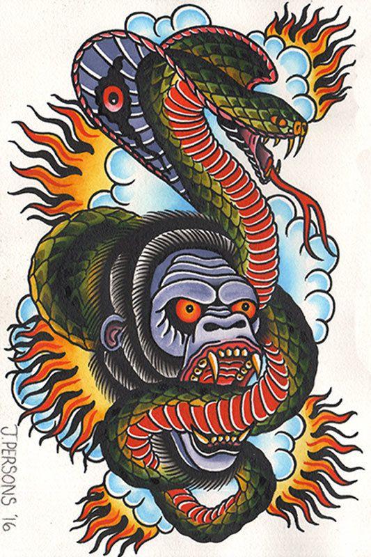 e4526cc957156 Gorilla Cobra by Josh Persons Traditional Style Fine Art Print ...