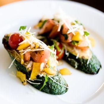 Gluten-Free Zucchini Bruschetta Recipe - use vegan cheese or omit. #veganized