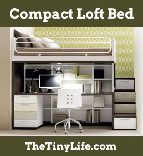 Compact Loft Bed Tiny House Living Pinterest Bedroom Room And