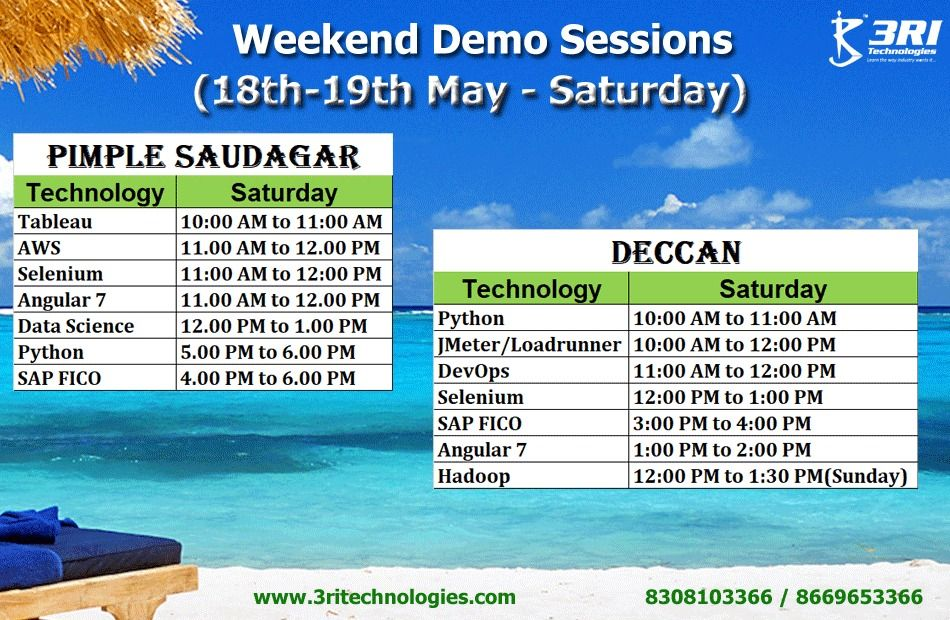 Welcome back to free weekend Demo Sessions at 3RI Technologies  Call
