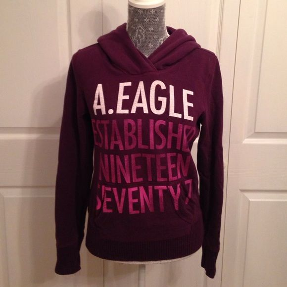 Outfitters Small Sweatshirt Tops Writing Size And Eagle amp; Shirt Sweatshirts Pink Sweat White Hooded American Dark Purple With O6qRgCnx