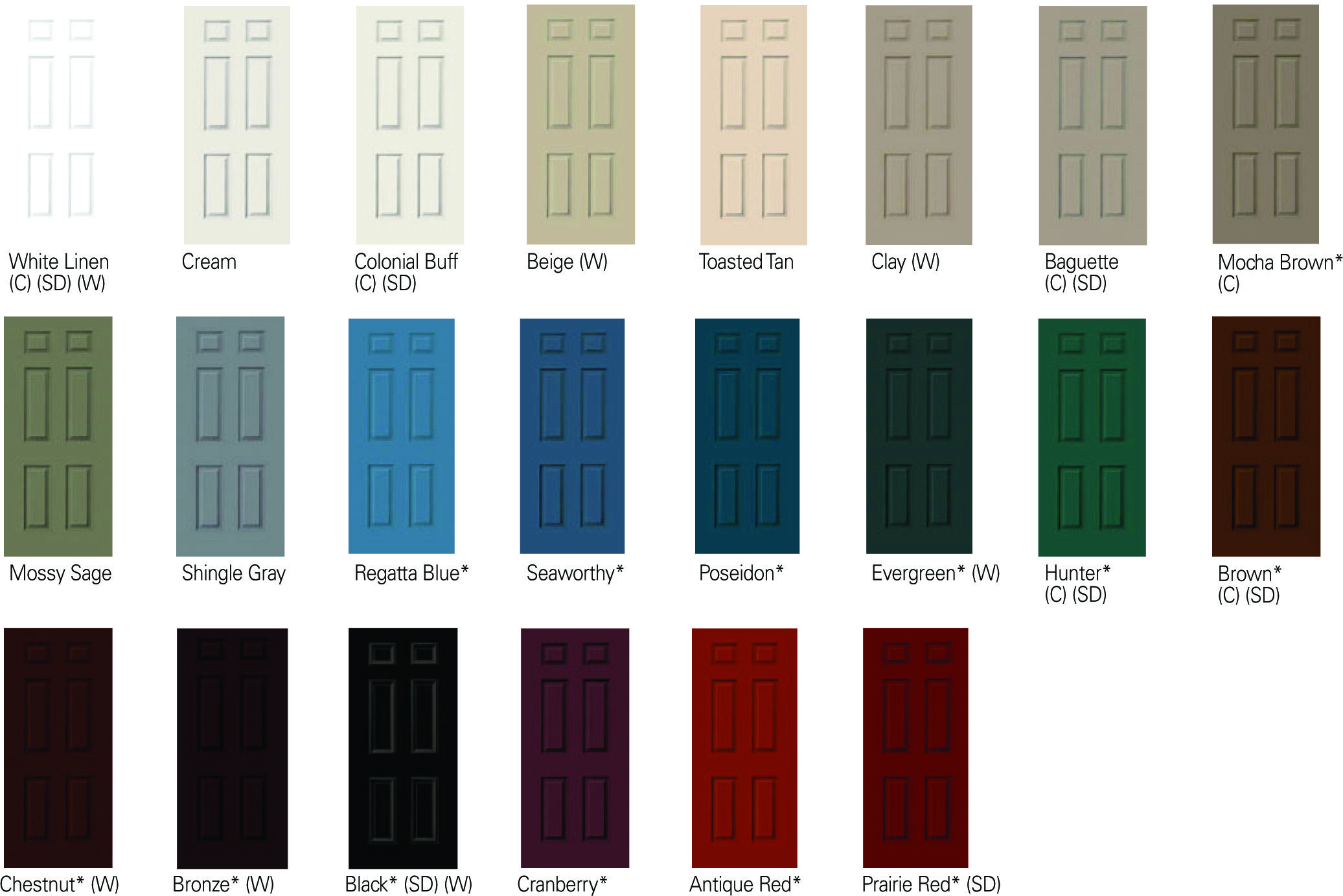 Interior paint colors clad jambs available in these for Door design and colour