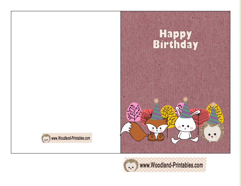 Cute Woodland Birthday Card Printable Free Printables