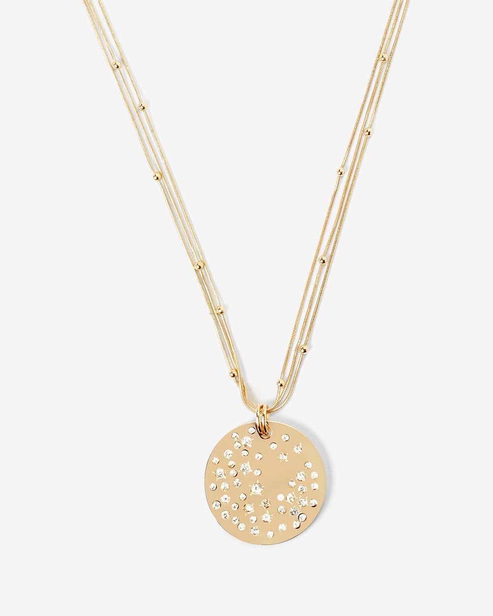 Goldtone Circle Stone Star Pendant Necklace