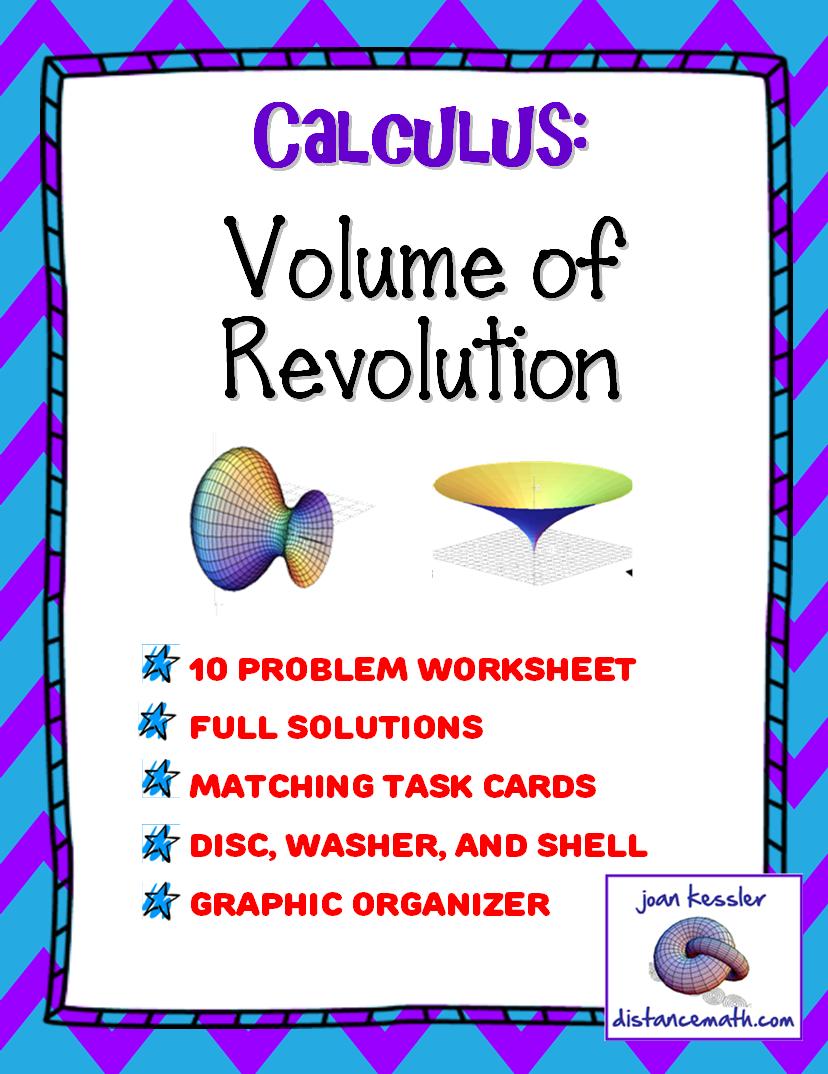 Calculus: Volume of Revolution Task Cards, Test, Worksheet, Graphic ...