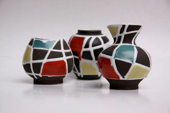 Vintage Fat Lava West Germany Set of 3 Vases -Schlossberg
