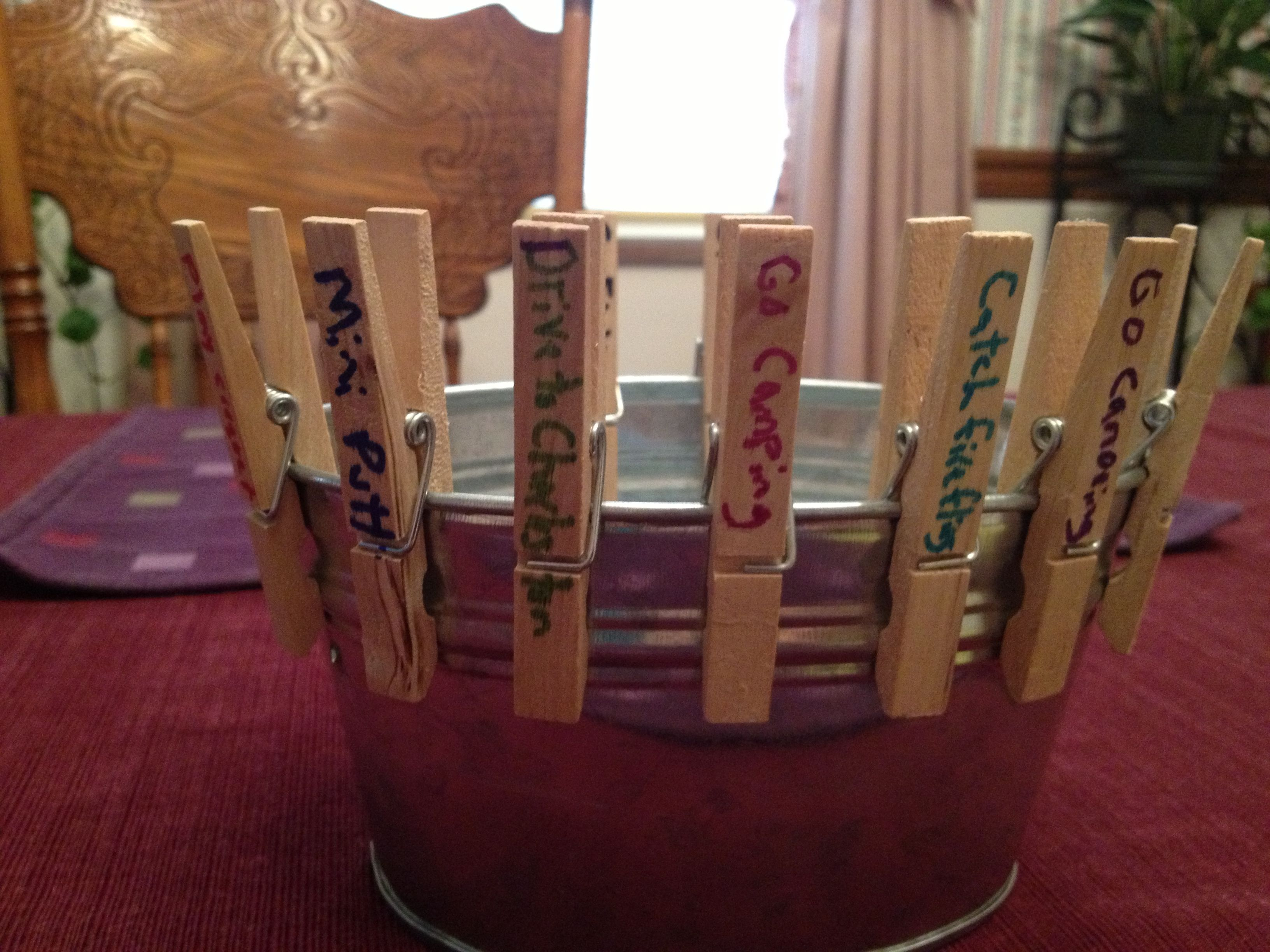 Summer fun bucket.... We write all the things we want to do over the summer and every time we do one, we take the clothespin off and put it in the bucket, by the end of the summer, our bucket will be full and we will have made lots of memories!
