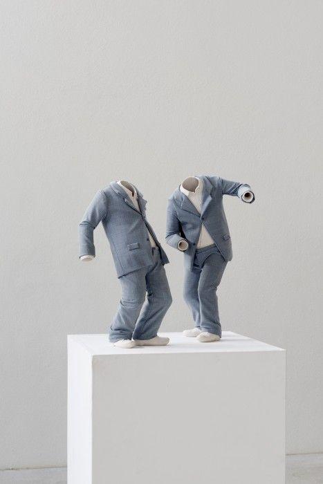 Installation view Erwin Wurm. Fichte Erwin Wurm, Disobedience, 2014 acrylic, fabric 45 x 23 x 23cm (l), 47 x 24 x 25cm (r) Photo: Marek Kruszewski © VG Bild-Kunst, Bonn 2015