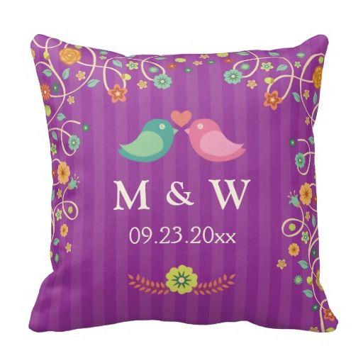Stylish Wedding Monograms Purple Floral Love Birds Pillows