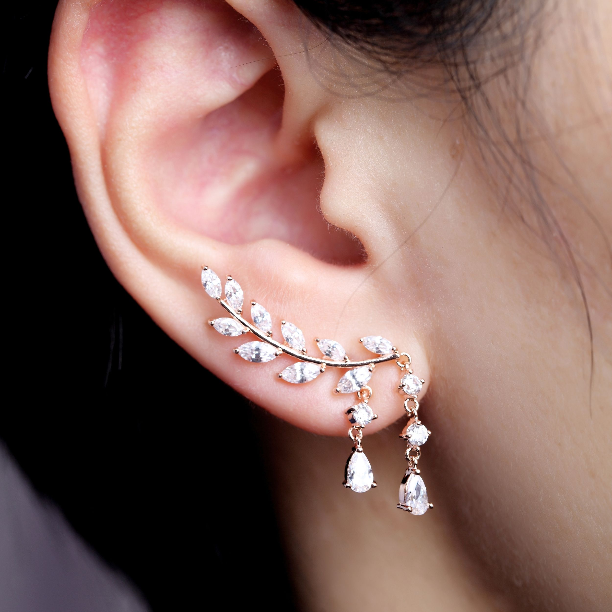Ear lobe piercing names  Beautiful Rose Gold Earrings Best Gifts for Her  fashion