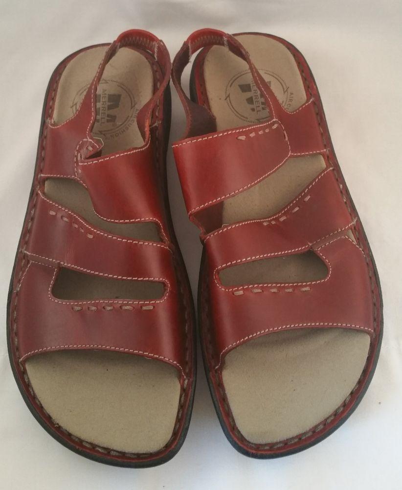 8105f9e96fd2 Women s MERRELL Red Leather Comfort Sandals Size 8 Walking  Merrell   Slingbacks  Casual